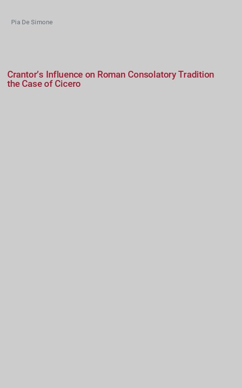 Crantor's Influence on Roman Consolatory Tradition